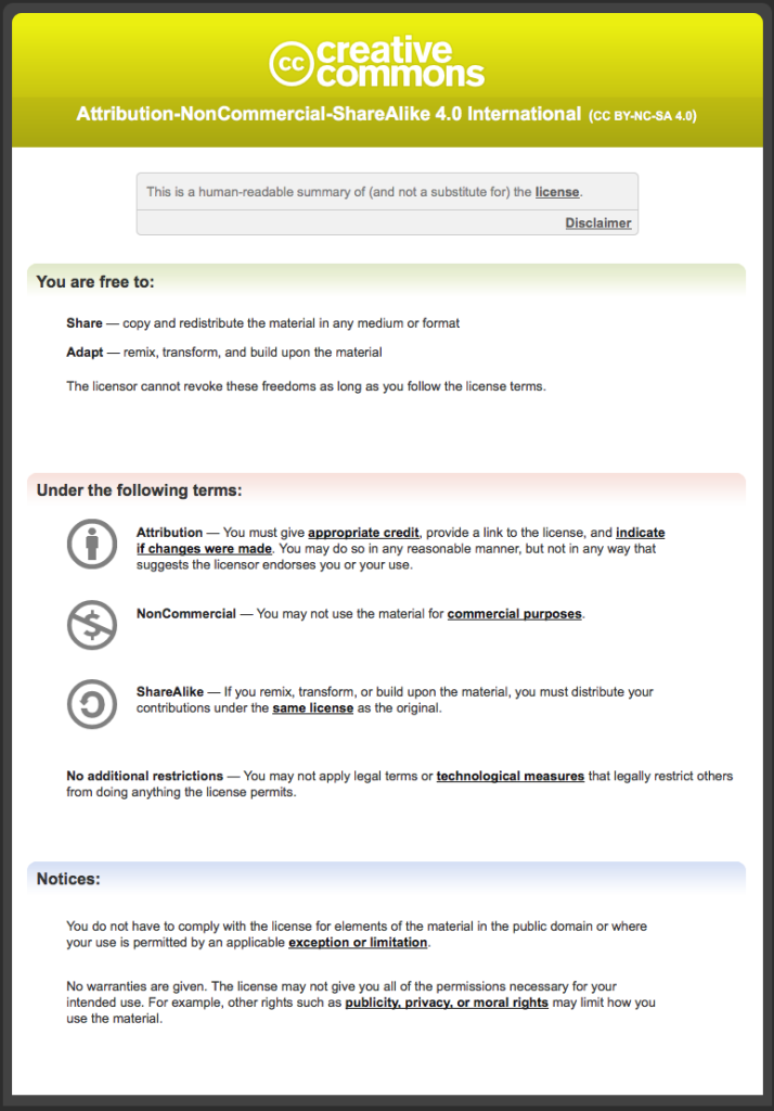 screenshot of the creative commons license